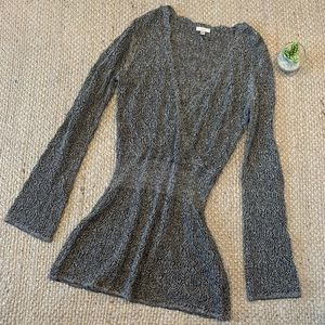 Cache Gray Silver Metallic Open Knit Sweater Top